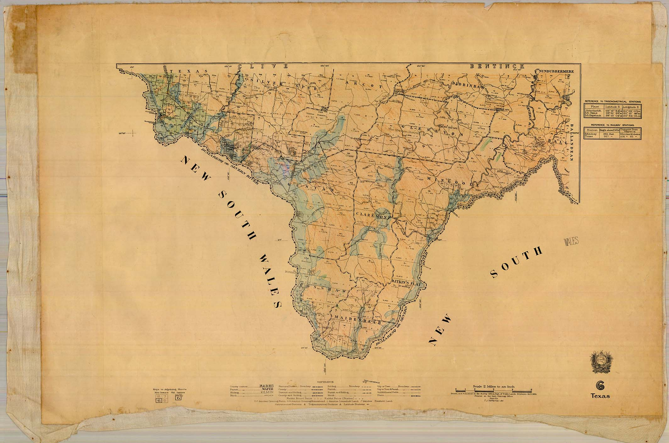 Map Of Texas Qld.Historical Cadastral Map Series Queensland 2 Mile Series